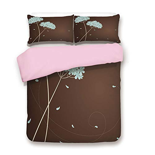 (Pink Duvet Cover Set,FULL Size,Floral Design with Swirl Lines Falling Leaves Autumn Inspired Decorative,Decorative 3 Piece Bedding Set with 2 Pillow Sham,Best Gift For Girls Women,Brown Pale Seafoam C)