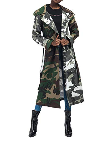 Antique Style Women's Casual Lapel Down Camo Lightweight Outwear Trench Coats Camouflage Printed Longline Safari Jackets Windbreaker Party Club Dress with Belt XL