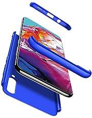 Ttimao Hoesje voor Samsung Galaxy A80 PC Harde Schaal Beschermhoes +1*Screen Protector Ultradunne Krasbestendig Shock Proof 360 ° Beschermhoesje 3 in 1 Beschermende Hoes-Blauw