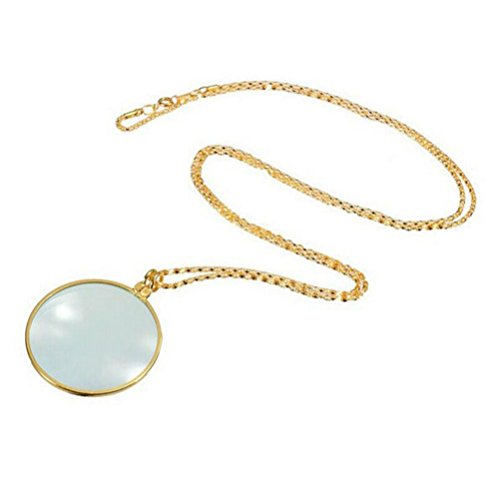 DondPO Magnifier Pendant Necklace Magnify Glass Reeding Decorativ Monocle Necklace (Gold) - Plated Brass Magnifier