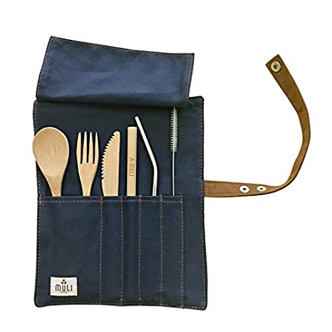 Eco-Friendly Reusable Bamboo Cutlery Set in PouchZero WasteFull Size