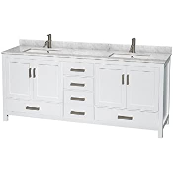 Wyndham Collection Sheffield 80 Inch Double Bathroom Vanity In White, White  Carrera Marble Countertop,