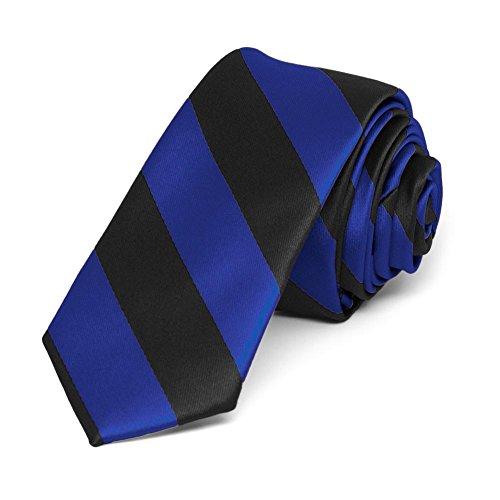 """TieMart Royal Blue and Black Striped Skinny Tie, 2"""" Width from tiemart"""