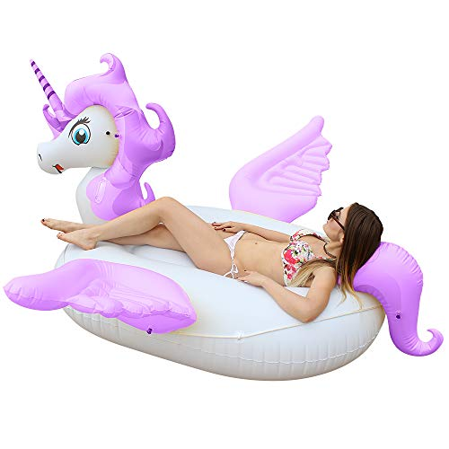 Giant Unicorn Pool Float, Big Inflatable Floats for Pool Ride-on Huge Adult Pool Floats for Kids and Adult Ride on Water Raft Swimming Pool Floats for Girl Boy Beach,Party,and Decoration (Purple-Big)