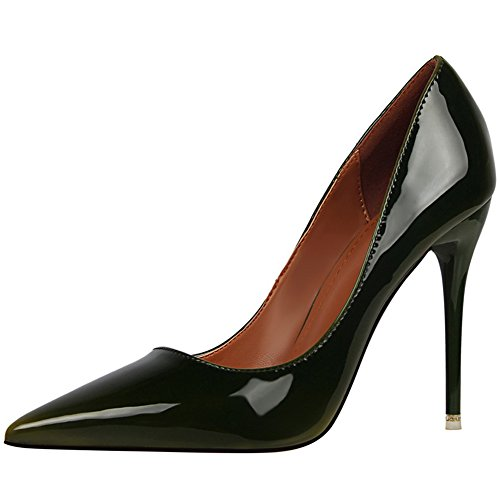 BIGTREE Patent Leather Women Pointed Toe Court Shoes High Heels Work Shoes Wedding Court Shoes Green LQBbO