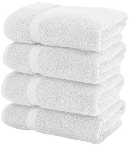Luxury White Bath Towels Large - 700 GSM Circlet Egyptian Cotton | Absorbent Hotel Bathroom Towel | 27x54 Inch | Set of 4