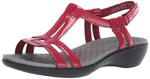 Leather Sandals Aster - CLARK'S Women's Sonar Aster Sandal, red Synthetic Patent, 9.5 Medium US