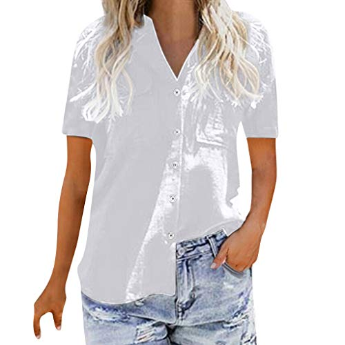 TnaIolral Ladies T-Shirt Loose Button Short Sleeve for sale  Delivered anywhere in USA