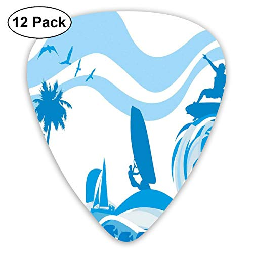 - Celluloid Guitar Picks - 12 Pack,Abstract Art Colorful Designs,Surfer On Waves Water Sports Recreation Palms Sea Sailboats Summertime Holiday,For Bass Electric & Acoustic Guitars.