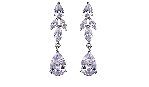 Cubic Zirconia Teardrop Clip on Earrings for Girls Women Long Tassel Non Pierced Whtie Gold Plated fYIgb1