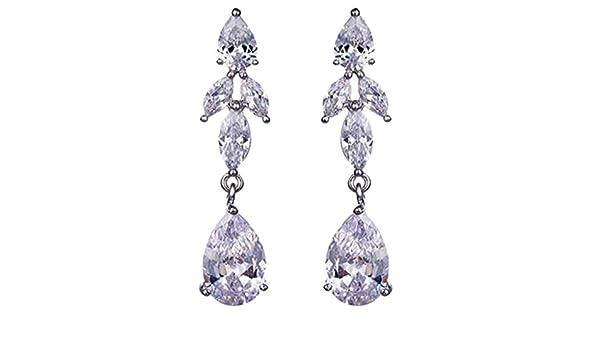 Cubic Zirconia Teardrop Clip on Earrings for Girls Women Long Tassel Non Pierced Whtie Gold Plated