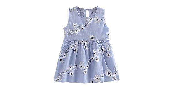 Bestow Vestido de Princesa con Estampado de Flores para niñas Vestidos sin Mangas Vestido de Princesa de Verano: Amazon.es: Ropa y accesorios