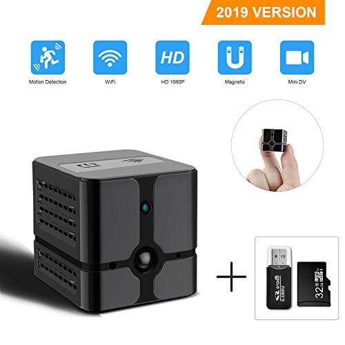 Mini Spy Camera WiFi DZFtech1080P Portable Mini Hidden Spy Camera Wireless WiFi Camera with Night Vision and Motion Detective Perfect Covert Security Camera for Home and Office