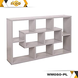 RICOO WM050-PL Wall Shelves Bookcase Floating Book Storage Bookshelf Hanging Rack Organiser Unit Racking Shelf Platinum Grey Effect Wood