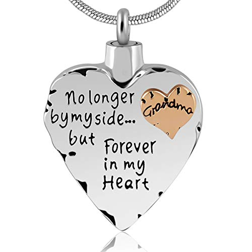 Eternally Loved Unisex No Longer by My Side But Forever in My Heart Dad&Mom Cremation Ashes Urn Pendant Necklace ()