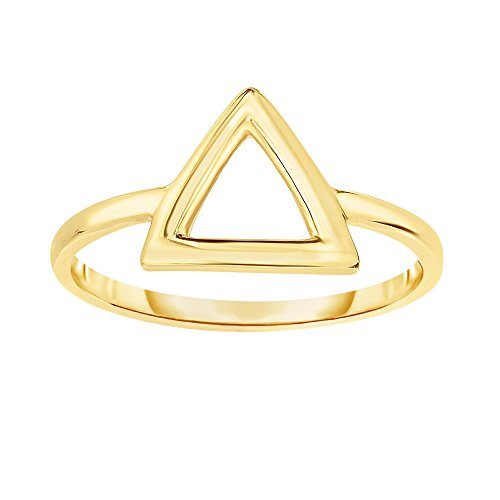 14k Yellow Gold Size 7 Polish Finish Open Three Point Triangle Ring by Diamond Sphere