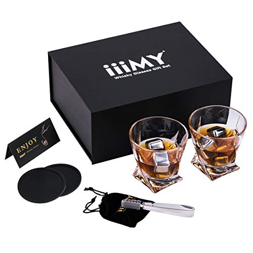Glass Cube Birthday (Whiskey Glasses Gift Set - 8 Stainless Steel Ice Cubes/Whiskey Stones Reusable +2 Twist Whiskey Glasses+2 Silicone Drink Coaster for Whiskys/Scotch, Father's Day Gift, Birthday/Christmas Present)