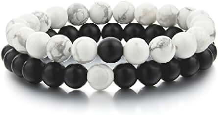 KUEN YinYang Black Matte Agate & White Howlite 8mm Beads His and Hers Couple Bracelet (2pcs)