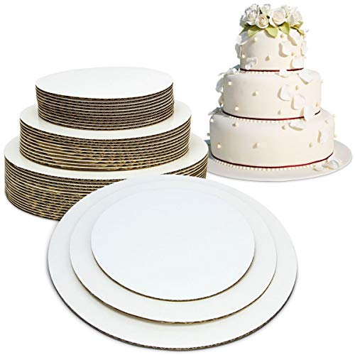 [30 Pack] 6 8 10 Inch Round Tierd Cake Boards Combo - Grease Proof Cardboard Disposable Layered Cake Pizza Circle Scalloped White Stackable Tart Decorating Base Stand