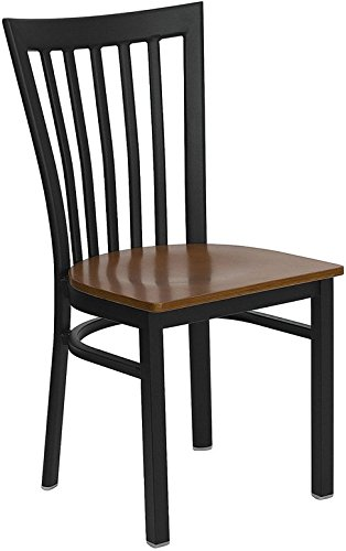 Schoolhouse Restaurant Chairs (Dyersburg Metal Chair Black School House Back, Cherry Wood Seat)