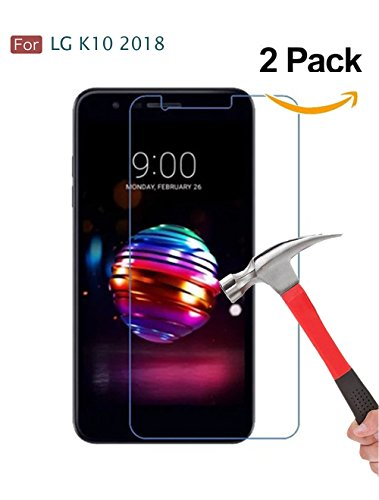 LG K10 2018 Screen Protector, LG K30 Screen Protector, Wellci [ 2 Pack ] Tempered Glass Screen Protector for LG K10 2018/LG K30 (Ultra Clear)