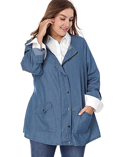 Agnes Orinda Women Plus Size Roll-up Sleeve Snap Button Closed Denim Jacket 3X Blue Button Denim Jacket