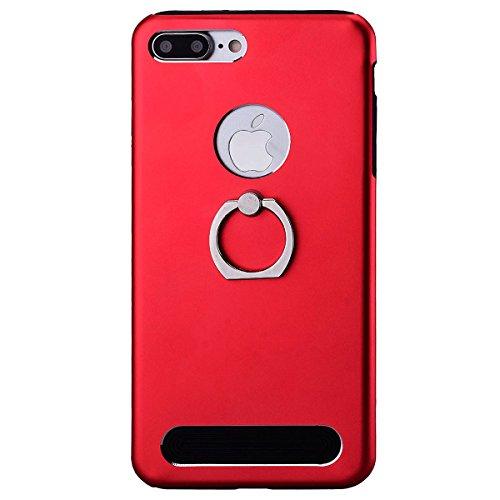 Custodia Per iPhone 7 Plus (5.5 pollici) Ring Cover Duplice Ibrido Bumper, HB-Int 3 in 1 Design PC + Silicone Grande Case Difensore Combo Duro Morbido Cases con Anello Supporto Covers [Completa Design
