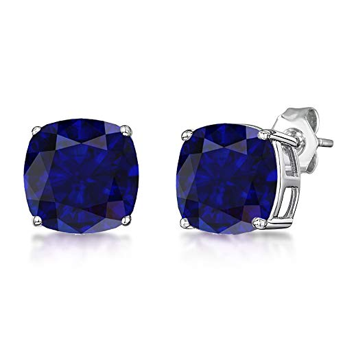 (2.25 Ct Blue Cushion Shape Sapphire 925 Sterling Silver Earring For Women: Nickel Free Beautiful And Stylish Mother And Wife Birthday Gift)