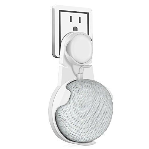 Kupton Wall Mount for Google Home Mini, Outlet Wall Mount Hanger Holder Stand Clip Accessories with Built-in Cable Cord Management for Google Home Mini Voice Assistants