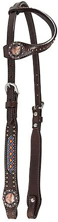 Circle Y Beaded Inlay Copper One Ear Headstall