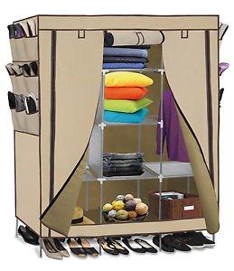 "69"" Portable Closet Storage Organizer Clothes Wardrobe Shoe Rack Shelves, Beige from Genric"