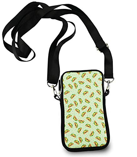 KYWYN Cellphone Case Pouch, Funny Happy Taco Pattern, Small Phone Wallet Purse Shuldder Bag, Teen Girls Phone Holder Gift - Great for Gym Travel Hiking