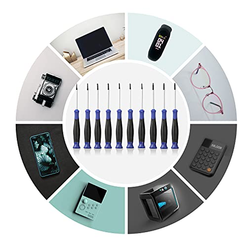 WORKPRO 10-Piece Precision Screwdriver Set with Pouch, Phillips, Slotted, Torx Star, Magnetic Screwdriver Repair Tool Kit, Non-Slip Grip, for Eyeglass, Watch, Computer, Laptop, Phone