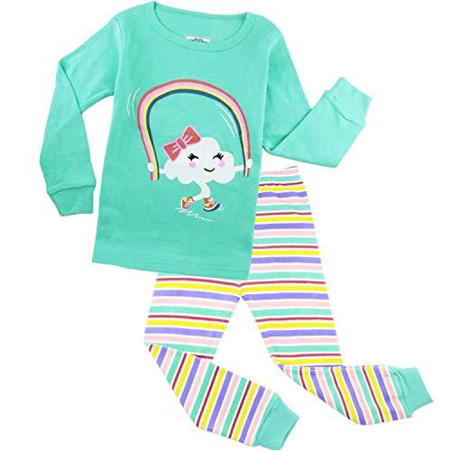 (Girls Pajamas Kids Clothes Toddler Sleepwears Long Sleeve Pants Sets Rainbow 4T)