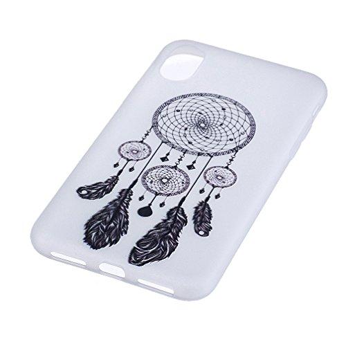 Funda iPhone X,XiaoXiMi Carcasa de Silicona TPU Suave y Esmerilada Funda Ligero Delgado Carcasa Anti Choque Durable Caja de Diseño Creativo - Lobo Campanas de Viento