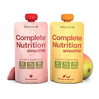 Naturgel Meal Replacement Smoothie, 10 Pouches - Nutrition Shake with 13g Plant-Based Complete Protein, 22 Vitamins & Minerals, Greens, Healthy Fats, Fiber and more