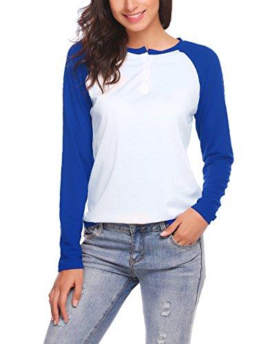 SE MIU Women Raglan Long Sleeve Curved Hem Patchwork Pullover Tunic T-Shirt Blouse - Miu Top Miu