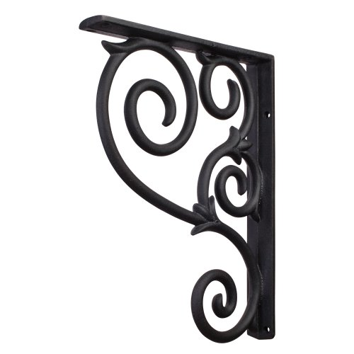 One Pair- Black- Metal (Iron) Scrolled Bar Brackets-1-1/2