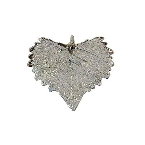 Edel-Heid Silver Dipped Real Cottonwood Leaf Pendant, Silver Plated Cottonwood Leaf Necklace, Made in - Cottonwood Leaf Necklace