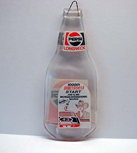 (Vintage Richard Petty 100th NASCAR Start 1986 Flat Pepsi Long Neck Bottle)