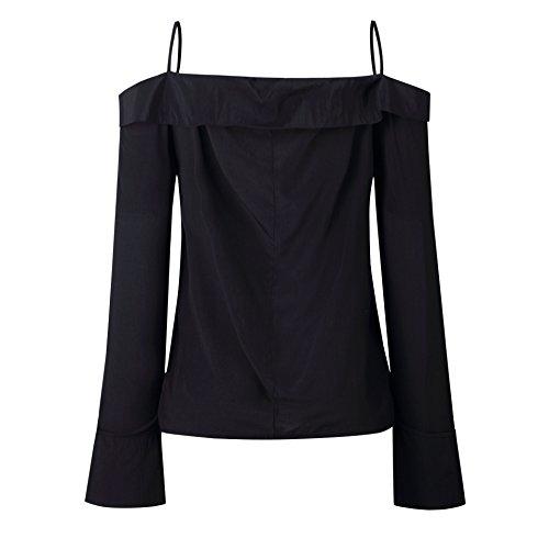 Donne Schienale Senza Shirt Maglietta e a Manica Pin Up Spalla Camicie Maglie Nuovo Primavera T Cime Lunga Nero Tops Moda Bluse Autunno Fredda 8z7Wxt1wq
