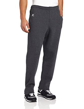 Russell Athletic Men's Dri-Power Open Bottom Sweatpants with Pockets, Black Heather, Small