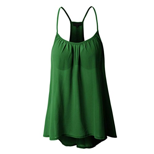Loose Pack - Clearance!! Women Tank Tops,Lelili Sexy Solid Strap Bandeau Sleeveless Ruched Swing Chiffon Blouse Casual Shirt Vest (4XL(Asian 4XL=US 2XL), Green)