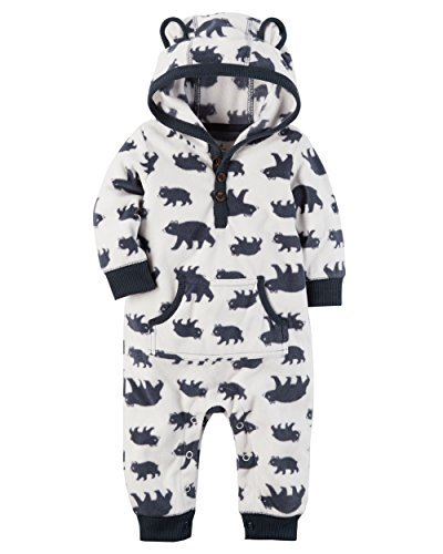 Carters Boys Rompers (Carter's Baby Boys Fleece Hooded Romper Jumpsuit, White Bear, 18 Months)