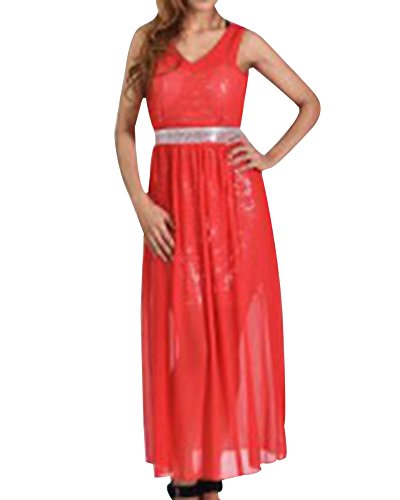 Mujer Elegante Sin Mangas V Cuello Largos Vestidos De Cóctel Noche Fiesta Boda Gala Ceremonia Rojo Corto