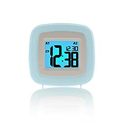 HTDragon Colorful Backlight Alarm Clock, LED Digital Clock, Desktop Silent Clock with Dual Smart Alarm, Snooze Function, Nightlight & Date (Powered by Battery)