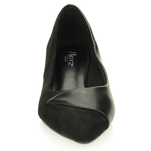 Negro Gris Tarde Tacón Señoras Casual Sandalias Kitten Tamaño Cortes Bajo Zapatos Negro Mujeres HAwSPvaqnS