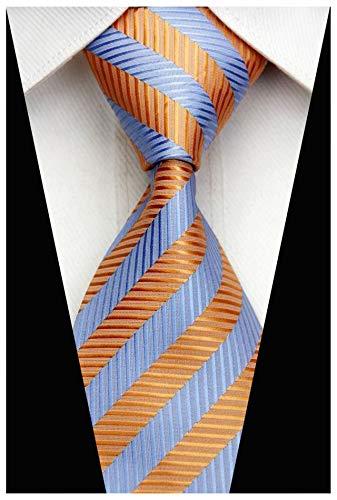 Veegood Men's Classic Jacquard Woven Silk Tie Plaid Striped Orange Blue Necktie for Men Party Suit Z05