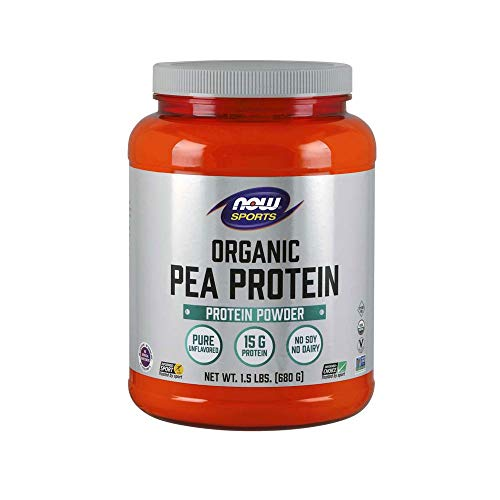 NOW Sports Nutrition, Organic Pea Protein Powder, Unflavored, 1.5-Pound