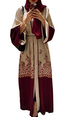 FLCH+YIGE Women's Muslim Kaftan Robes Islamic Abaya Turkish Long Dress Red M by FLCH+YIGE